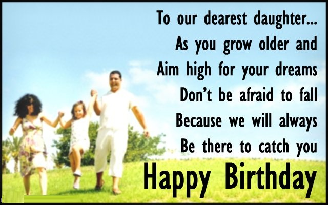 birthday cards wishes for daughter from dad or mom