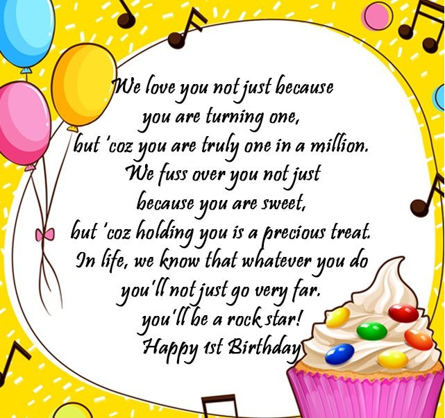 Happy 1st Birthday Wishes, Messages, Sayings, Cards, Lines